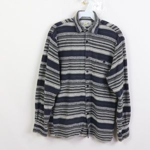 Vintage Striped Thick Flannel Long Sleeve Shirt
